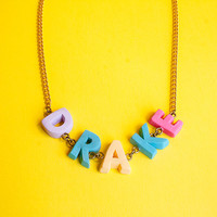 design your own necklace | custom name necklace | colorful letter pendants