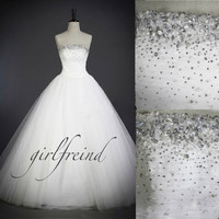 Elegant beading strapless white lace wedding dress