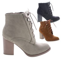 Lurk Taupe By Soda, Chunky Block High Heel Lace Up Combat Ankle Booties