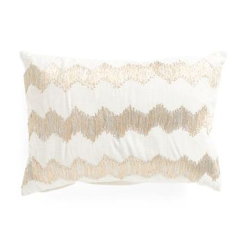 Metallic Gold Chevron Throw Pillow