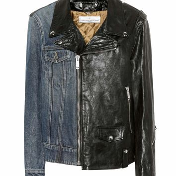 Leather and denim biker jacket