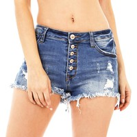 Dahlia Distress Denim Shorts