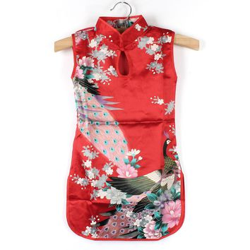 2-8Y Girls Dress Chinese Style Baby Peacock Cheongsam Print Sheath Baby Girl Mini Dresses
