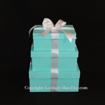 Centerpieces - Tiffany Co. Inspired Box LARGE RECTANGULAR - Tiffany Blue and White
