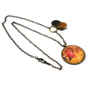 """Vintage Rose - Flower Pendant on Antique Bronze Chain - Simple Statement Necklace - 30"""" Long - Papersonal - Clay Space"""