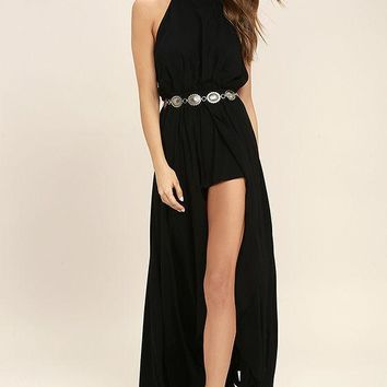 Fashion Solid Color Halter Sleeveless Backless Hem Split Maxi Dress