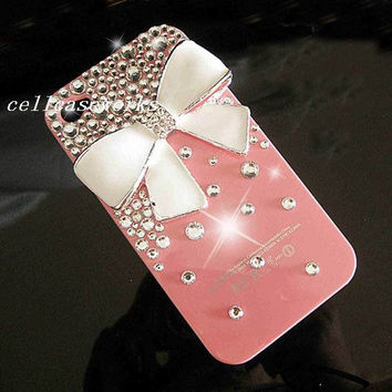 white bow Bling iPhone 5 Cases studded swarovski by cellcaseworks