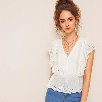 Button Front Ruffle Trim Schiffy Blouse Women Solid Blouse White Boho V Neck Eyelet Embroidery Blouses