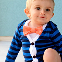 SALE :  Baby Cardigan Onesuit - Blue Preppy Baby Boy Cardi - Perfect for a Fall or Winter Baby Shower Gift