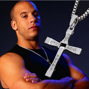 The Fast And The Furious Dominic Toretto Vin Diesel New Movie Jewelry Classic Rhinestone Pendant Sliver Cross Necklace