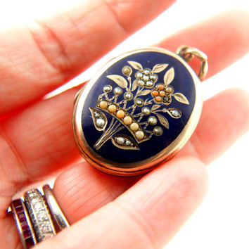 Victorian Enamel Flower Locket - Coral and Seed Pearl - Gold Filled - Antique