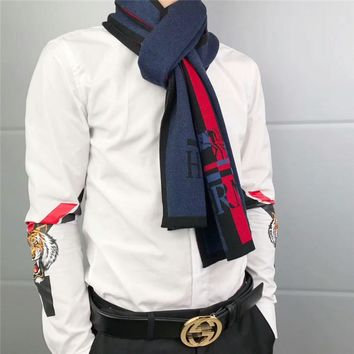 """Hermès"" Gentleman Elegant Fashion Multicolor Stripe Logo Letter Cashmere Knit Shawl Men Scarf"