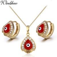 Yellow Gold Color Red Evil Eyes Paved CZ Teardrop Pendant Necklace Hoop Earrings Jewelry Sets for Womens Girls Kids Children