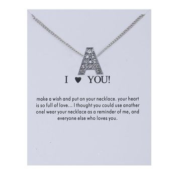 Letter A Card Alloy Clavicle Pendant Necklace 171208