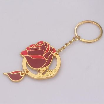 2017 Newest Beauty and the Beast Keychain Gold Enamel Enchanted Rose Flower Key Chain Chaveiro llaveros