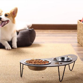 Pet Dog Cat Stainless Steel Feeder Double Bowl
