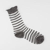 FULL TILT Metallic Stripe Sheer Socks | Socks
