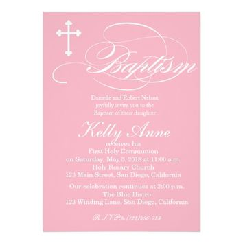 Modern Elegant Cross Baptism Invitation for Girls