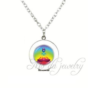 Rainbow Chakra Locket Pendant Purple Space Kundalini Yoga Meditation Reiki Metaphysical Pagan Wiccan Necklace Healing Jewelry