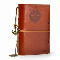 ZLYC Vintage String Mediterranean Style Anchor Loose-leaf Handmade Refillable PU Leather Journal Diary Notepad Notebook Brown