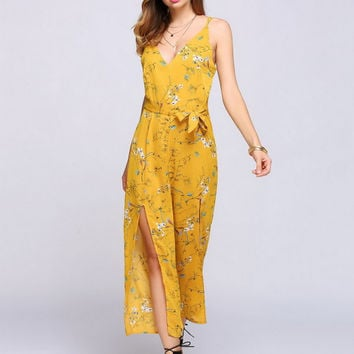 Slit Floral Jumpsuit - Yellow