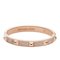 Michael Kors Pave Pyramid-Stud Bangle, Rose Golden