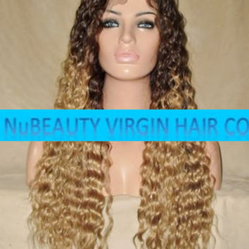 "CUSTOM COLORED Human Hair Wig Full Lace 22"" Long Deep Wave Curly Dark Brown Blonde Ombre #4/T27"