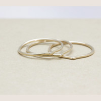 Set of 3 small chevron stacking ring with 14k gold filled (18 guage )