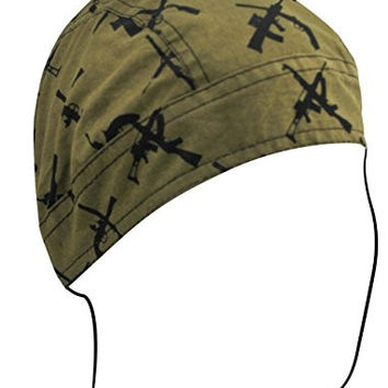 Biker Skull Cap Doo Rag Motorcycle Bandana Headwrap Machine Guns and Pistols (Olive Drab Green OLD Guns)