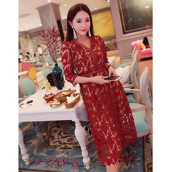 self portrait dress new 2017 ladies summer dress white/red/wine/violet lace crochet dress hollow out v-neck elegant dress SALE
