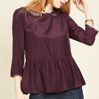 Sprightly Attire Top in Plum | Mod Retro Vintage Short Sleeve Shirts | ModCloth.com