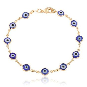 Gold Overlay with Navy Blue Mini Evil Eye Style 75 Inch Clasp Bracelet T326