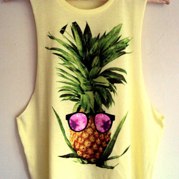 Hipster Pine Apple Tank Top Cut Out Cropped Top Yoga Fitness Workout Beach Tank Summer Tops Teen Fashion Casual Clothing Hipster T-Shirts