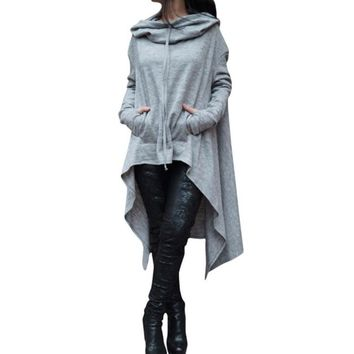 2017 Autumn Winter Women Irregular Draw Cord Coat Long Sleeve Loose Casual Poncho Hooded Pullover Long Hoodies Sweatshirts Tops