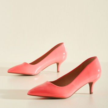 Sleek and Low Heel in Carnation | Mod Retro Vintage Heels | ModCloth.com