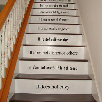 Stair Decals Wall Decals Quotes Love is Patient, Love is Kind - 1 Corinthians 13 STAIRCASE Quote Vinyl Sticker Decal Stairway Home Decor #35