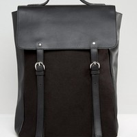 ASOS Leather and Canvas Backpack In Black at asos.com
