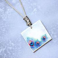 Polimer Clay Necklace Jewelry Peacock Feathers Handmade Trend Original Gift Fimo Choker Pendant.