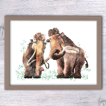 Ice Age poster, Manny the Mammoth, Love print, Mammoth family, Watercolor Art Disney, Elephant Print, Ice Age, Children room, Animal art V94