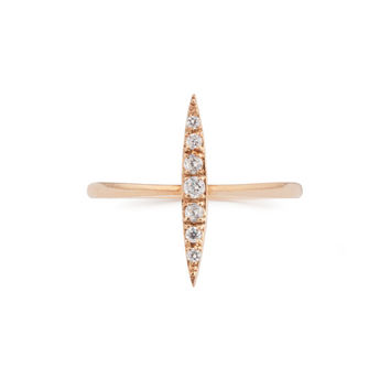 14k gold crescent ring with white diamond rose gold, yellow gold, white gold
