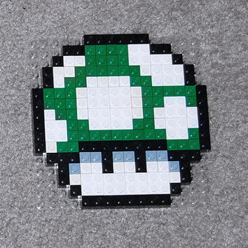 Lego Nintendo Mario Brothers 1-Up Mushroom; Pixel Art Lego Pixel Art