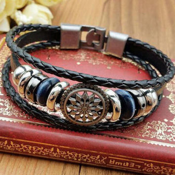 Fashion Men's Women Charm Leather Bracelet Bangle Cuff Punk Style NEW Punk Style Jewelry +Gift Box
