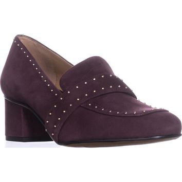 Franco Sarto Lance Block-Heel Pumps, Burgundy Suede, 9 US / 39 EU