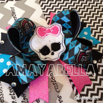 Ready To Ship Monster High Girly skull bow  by AMAYABELLA on Etsy