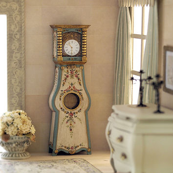 Grandfather clock. 1:12 scale. Handpainted wood.
