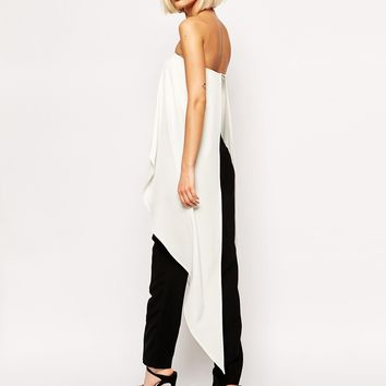 Lavish Alice Bandeau Maxi Cape Crop Top