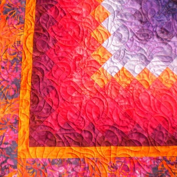 "Red Orange and Purple Batik Wall Hanging Quilt, Baby Quilt, Toddler Quilt, 40"" x 42"", Boston Commons, Trip Around The World"