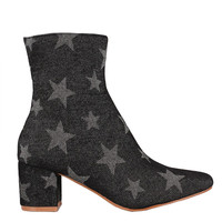 Supernova Black Denim Ankle Boots with Stars
