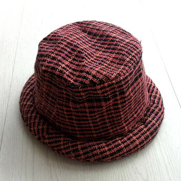 Hippie Women Bucket Hat, Pork pie with rolled-brim, Hand woven cotton hat, Gift for her