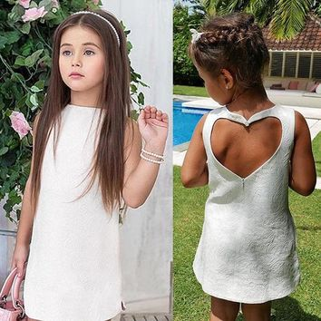 Dress Sleeveless Love Mini High Quality Toddler Kids Baby Girls Summer Straight Princess Party Pageant Dress Girl Clothing
